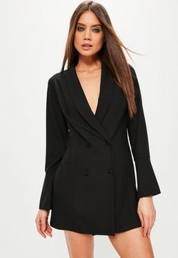 Black Crepe Flared Sleeve Tux Dress