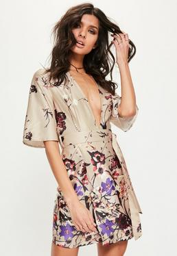 Nude Silky Floral Print Shift Dress