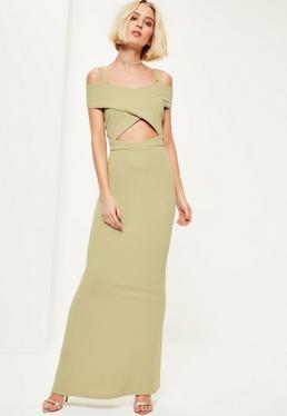 Green Crepe Bardot Strap Detail Maxi Dress