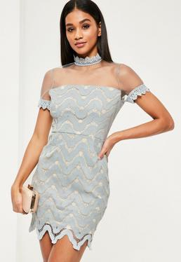 Grey Crepe Mesh Short Sleeve Bodycon Dress
