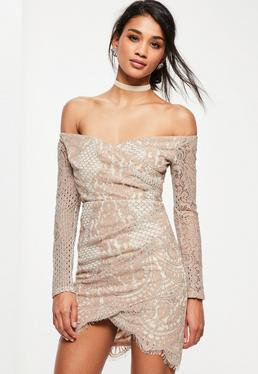 Pink Lace Bardot Long Sleeve Bodycon Dress