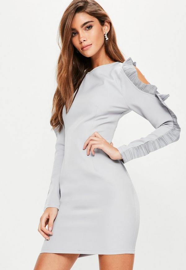 Blue Crepe Pleated Ruffle Sleeve Bodycon Dress