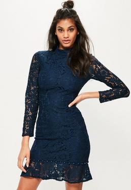 Navy Lace Button Hem Bodycon Dress