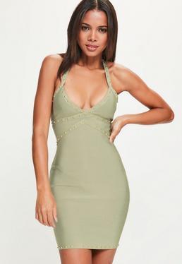 Zielona bandażowa dopasowana sukienka na ramiączkach z ozdobnymi ćwiekami