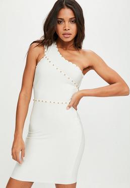 Biała bandażowa dopasowana sukienka na jedno ramię z ozdobnymi ćwiekami