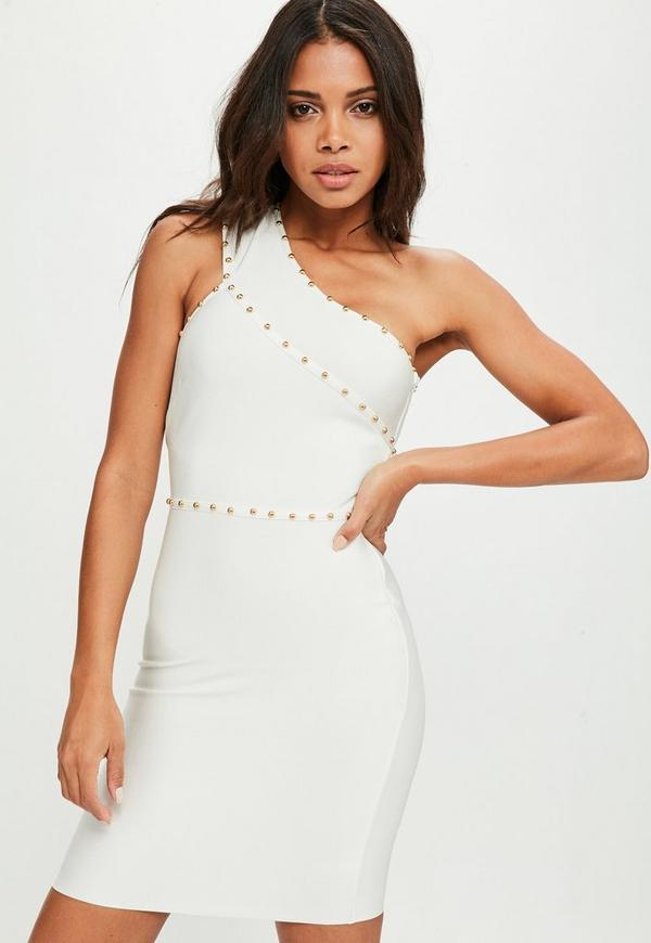 One Shoulder White Bandage Dress