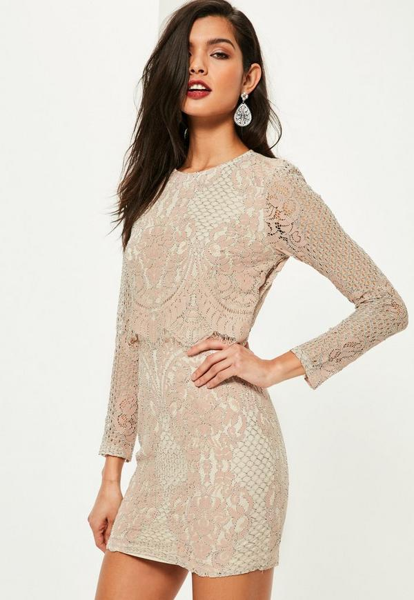 Pink Lace Long Sleeve Double Layer Bodycon Dress