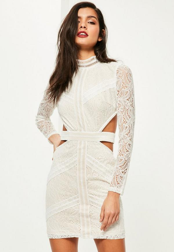 White Lace Waist Cut Out Long Sleeve Bodycon Dress - Missguided