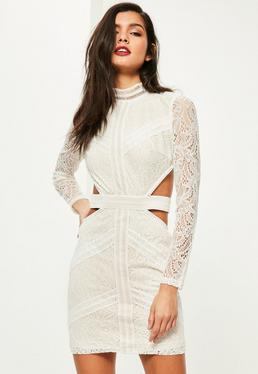White Lace Waist Cut Out Long Sleeve Bodycon Dress