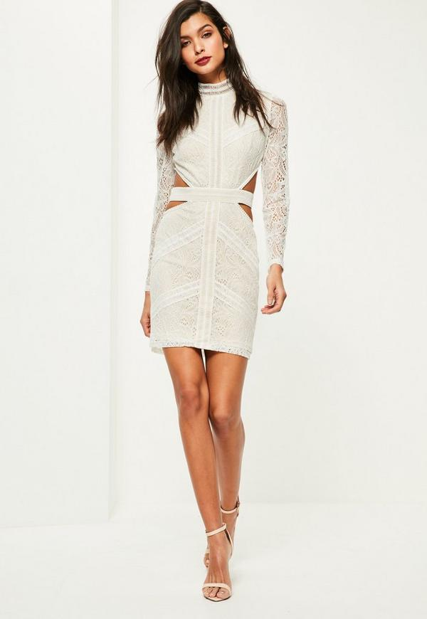 White Lace Waist Cut Out Long Sleeve Bodycon Dress | Missguided