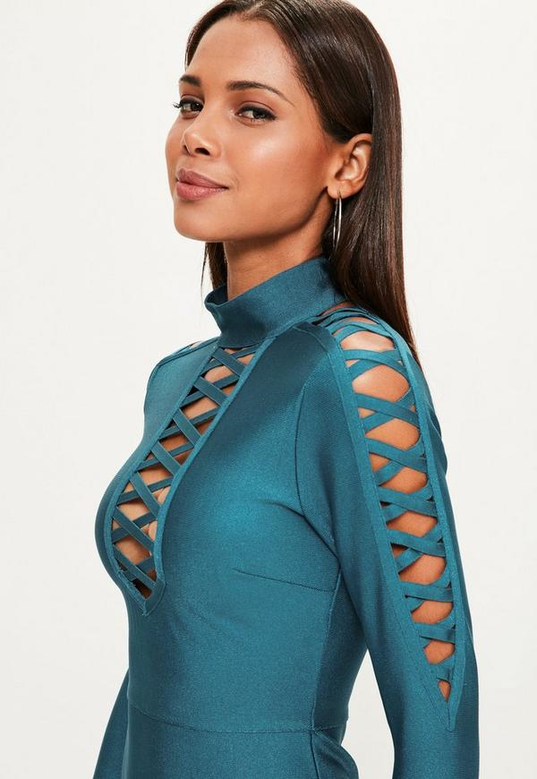 Blaues Bandage-Kleid mit Kreuz-Träger Detail   Missguided