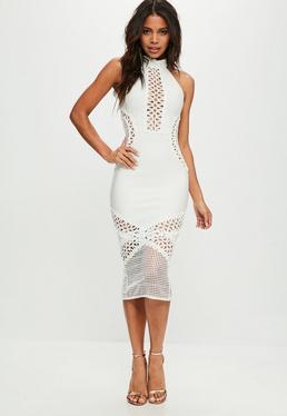 Vestido midi de bandage con encaje en blanco