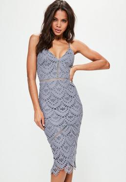 Blue Lace Ladder Detail Midi Dress