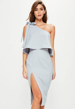 Grey Crepe One Shoulder Bow Sleeve Midi Dress