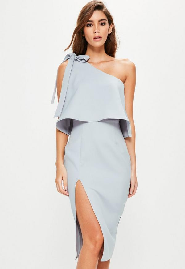 Grey Crepe One Shoulder Bow Sleeve Midi Dress - Missguided Blue Gothic Prom Dresses