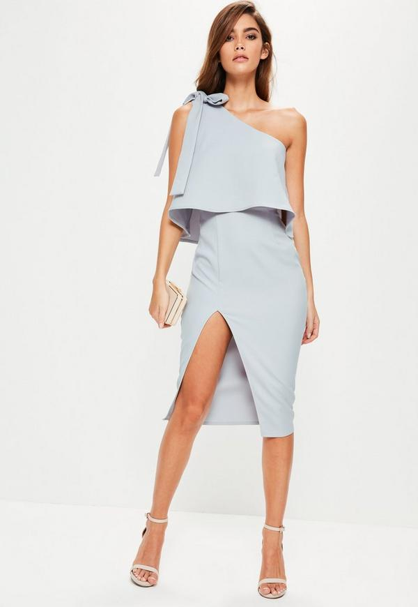 Gray Crepe One Shoulder Bow Sleeve Midi Dress Missguided