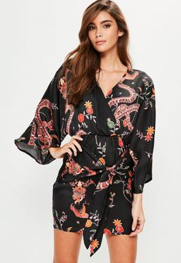 Black Silky Printed Kimono Shift Dress