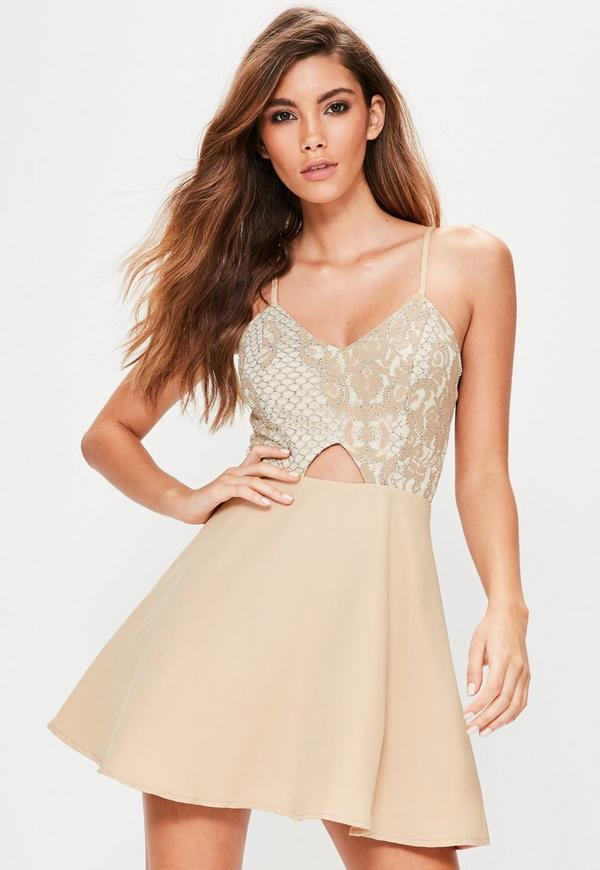 Nude Lace Skater Dress