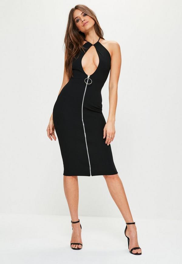 Black Crepe Keyhole Ring Zip Pull Midi Dress
