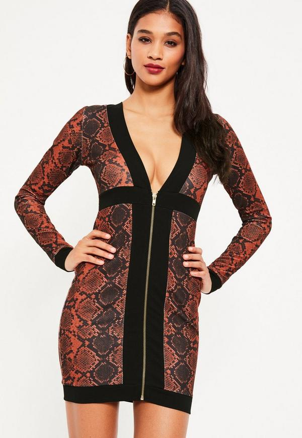 Red Crepe Snake Zip Detail Bodycon Dress