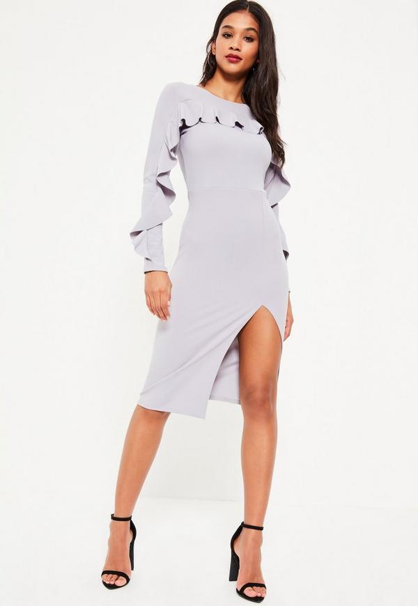 Grey Crepe Frill Long Sleeve Midi Dress