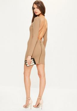 Nude Crepe Low Back Ring Zip Bodycon Dress