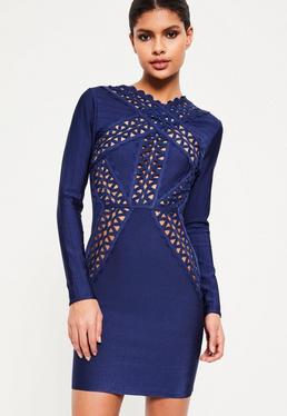 Niebieska bandażowa dopasowana sukienka z koronką