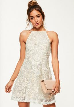 Nude Lace 90's Neck Skater Dress