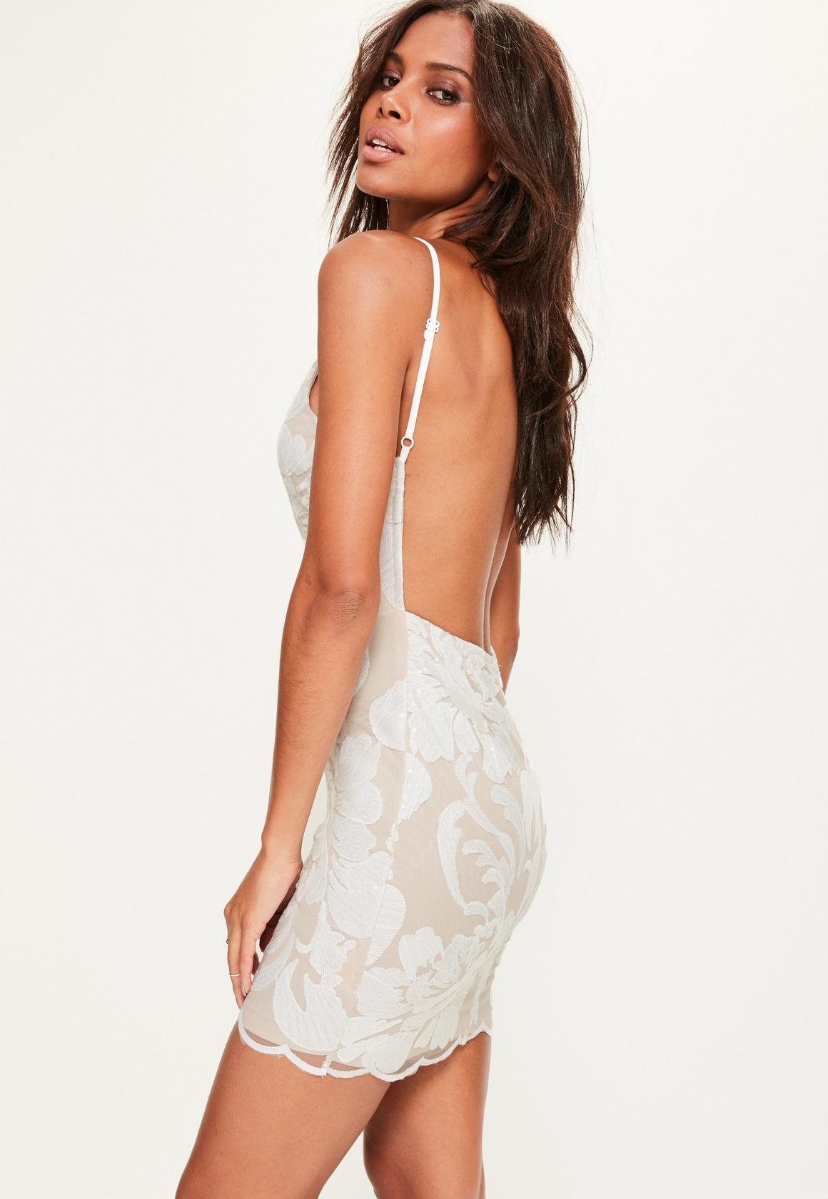 White Sequin Strappy Bodycon Dress | Missguided