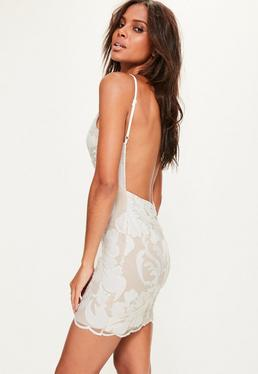 White Sequin Strappy Bodycon Dress