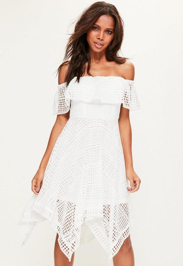 White Crochet Bardot Skater Dress
