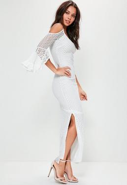 Biała sukienka maxi z wyciętymi ramionami