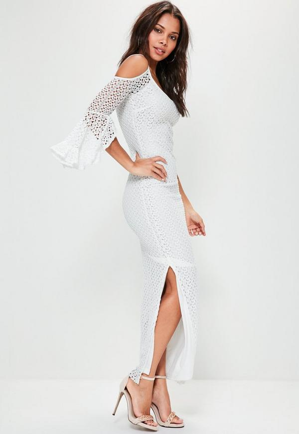 White Lace Cold Shoulder Frill Maxi Dress