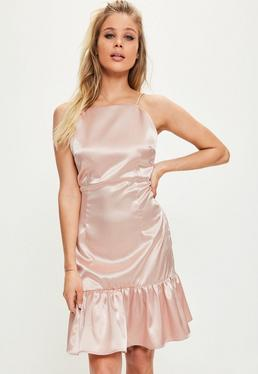 Pink Silky Frill Hem Shift Dress