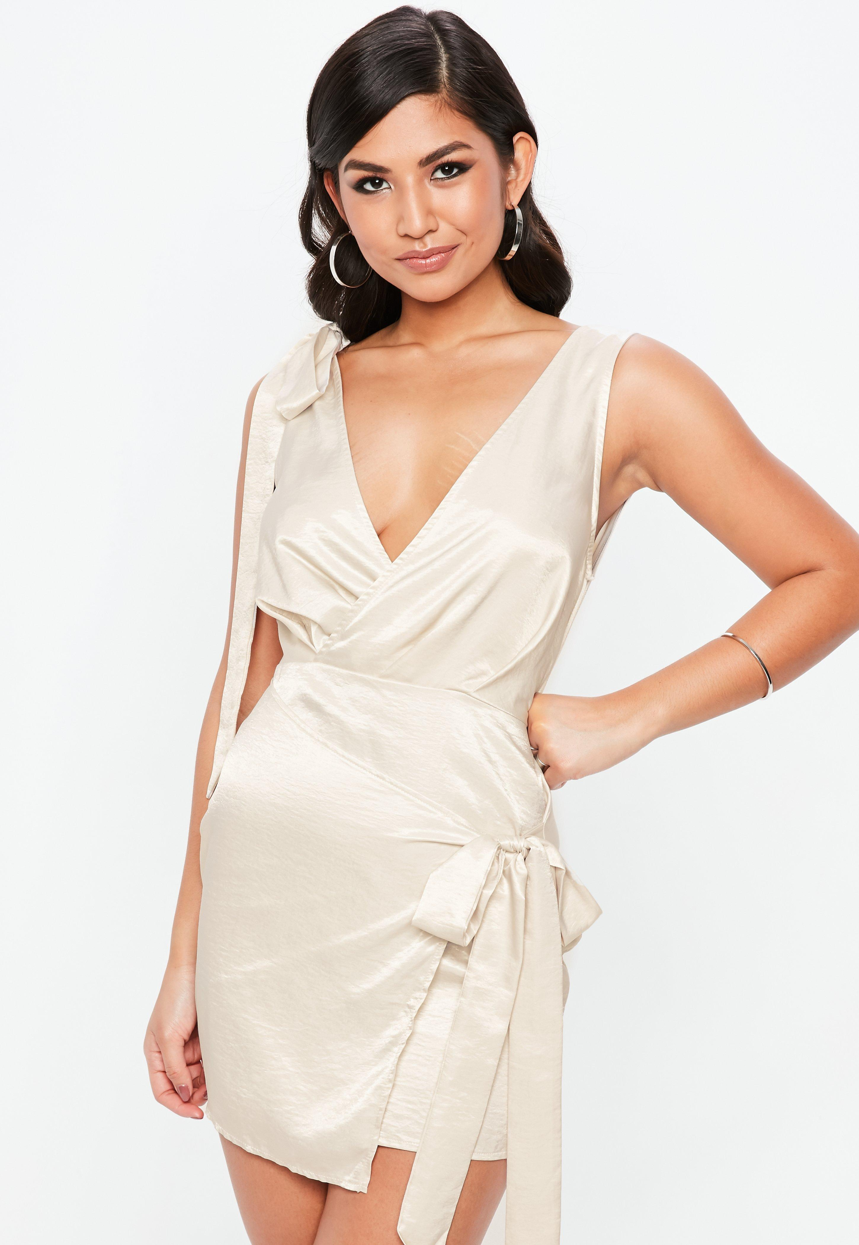 Tie Shoulder Shift Dress - Cream Missguided TtzUVX9lKX