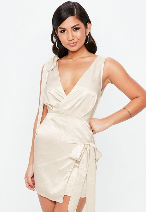 Cream Silky Tie Front Shift Dress