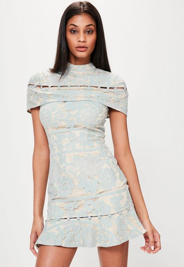 Blue Lace Button Detail Frill Hem Dress