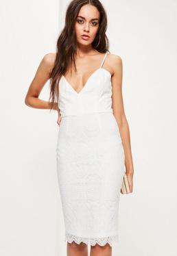 White Lace Strappy Bodycon Dress