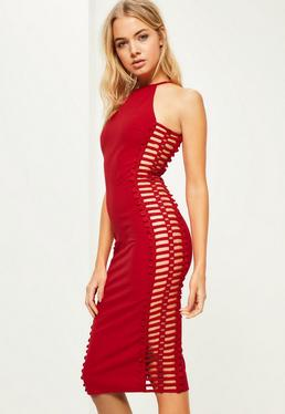 Red Crepe Side Trim Detail Midi Dress