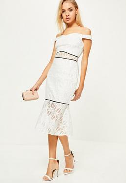 White Lace Bardot Frill Hem Midi Dress