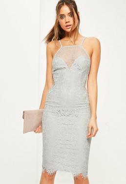 Szara koronkowa sukienka midi na ramiączkach