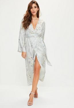 Robe midi grise à imprimé floral style kimono