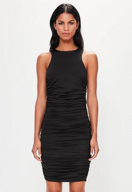 Peace + Love Czarna mini sukienka bez rękawów marszczona po bokach