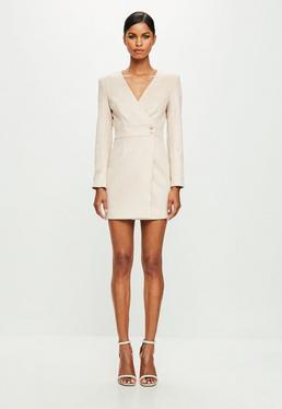 Peace + Love Nude Long Sleeve Faux Suede Wrap Dress