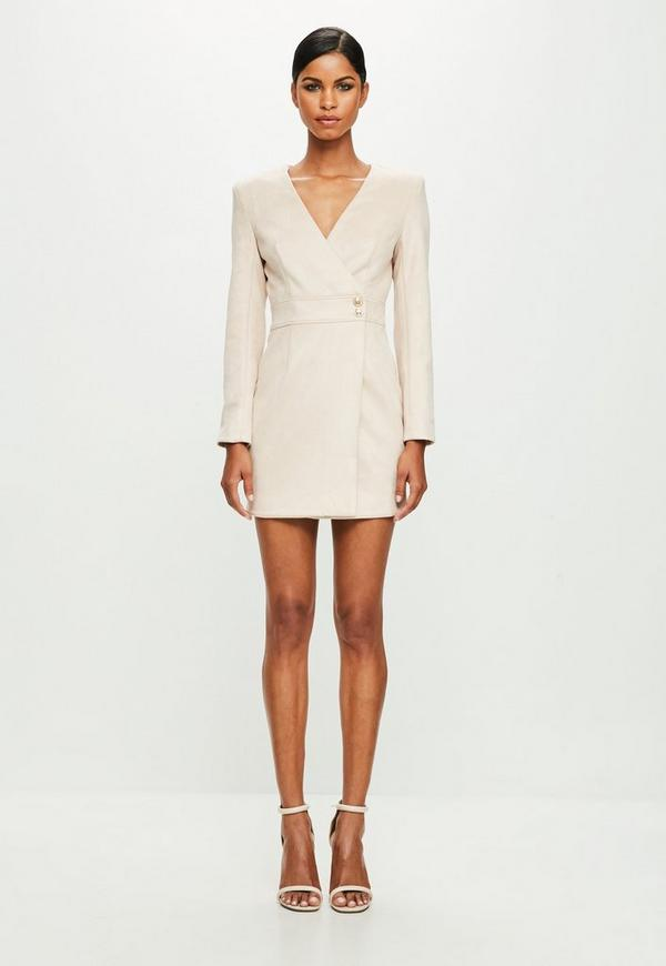 3fc5ba806428 Peace Love Nude Long Sleeve Faux Suede Wrap Dress Missguided | 2019 ...