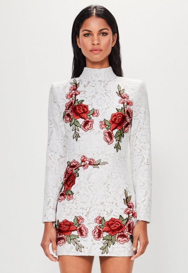 peace love white lace rose high neck dress missguided