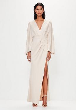 Peace + Love Nude Flared Sleeve Maxi Dress