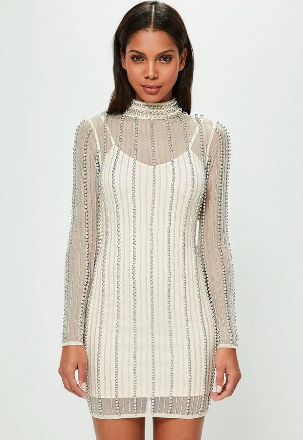 Peace + Love Nude High Neck Striped Embellished Bodycon Dress