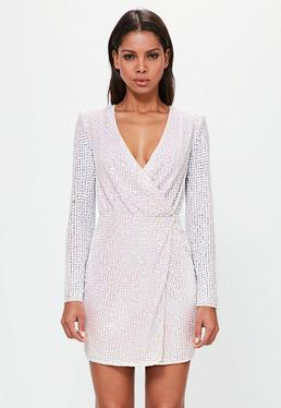 Peace + Love Silver Pearlescent Wrap Plunge Mini Dress