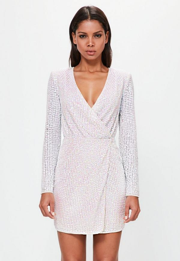 Peace + Love Silver Pearlescent Wrap Plunge MiniDress